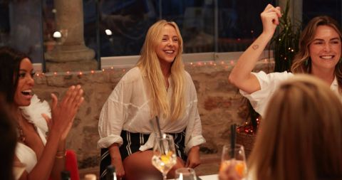 'Below Deck Mediterranean' Season 6 stew crew members Lexi, Courtney and Katie celebrate after a particularly challenging charter.