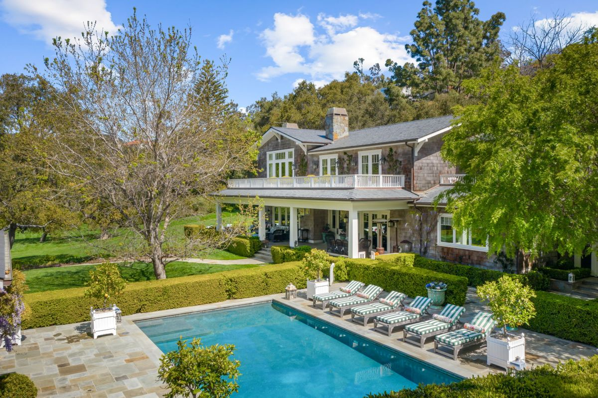 Step inside this grand, ultra-secluded Hamptons-style estate in Pacific Palisades - listed at $35m