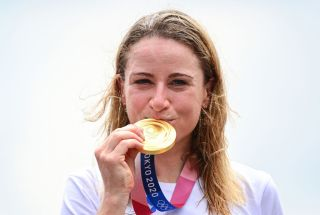 Gold medalist Netherlands Annemiek Van Vleuten celebrates on the podium of the womens cycling road individual time trial during the Tokyo 2020 Olympic Games at the Fuji International Speedway in Oyama Japan on July 28 2021 Photo by Ina FASSBENDER AFP Photo by INA FASSBENDERAFP via Getty Images