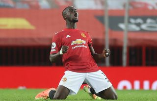 Manchester United's Eric Bailly celebrates at the final whistle after the Premier League match at Old Trafford, Manchester.