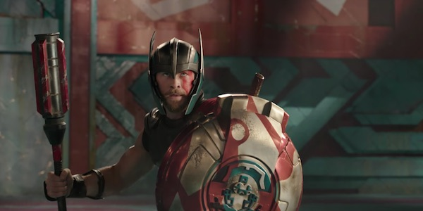 Thor wielding club and shield in Grandmaster's arena