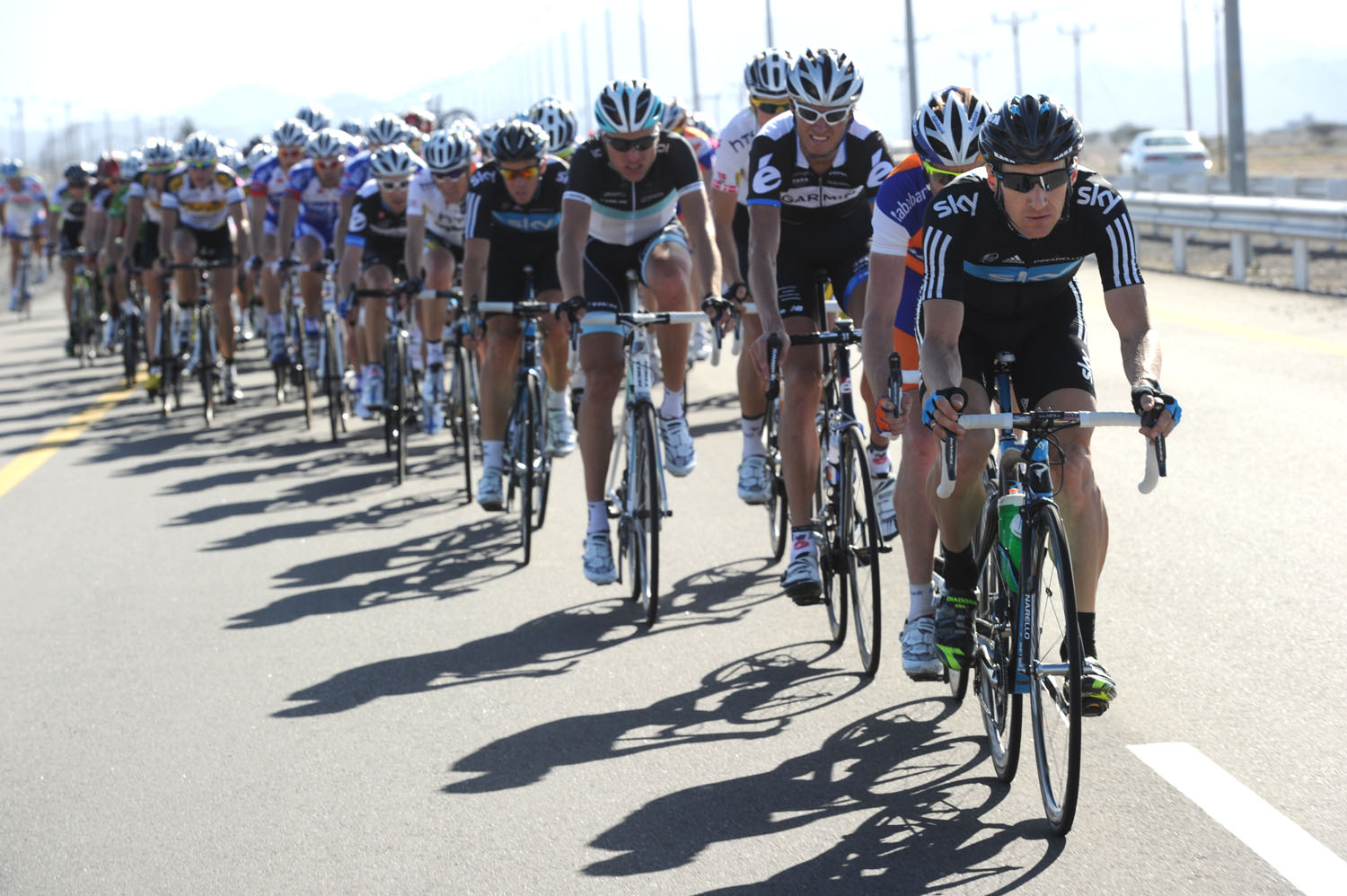 Team Sky chases, Tour of Oman 2011, stage one