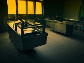 An autopsy room.