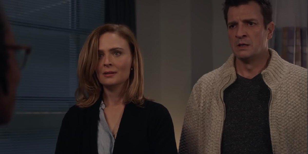 Emily Deschanel as Sarah and Nathan Fillion as John Nolan on The Rookie.