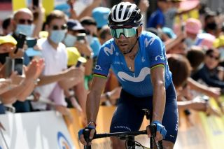 Team Movistars Alejandro Valverde of Spain crosses the finish line of the 15th stage of the 108th edition of the Tour de France cycling race 191 km between Ceret and AndorreLaVieille on July 11 2021 Photo by Philippe LOPEZ AFP Photo by PHILIPPE LOPEZAFP via Getty Images
