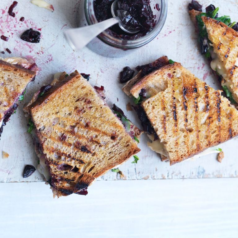 Cherry recipe with bread, cheese and salad