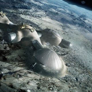 An artist's illustration of a crewed moon base.