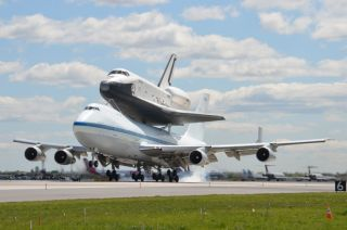 Shuttle Enterprise touches down in New York.