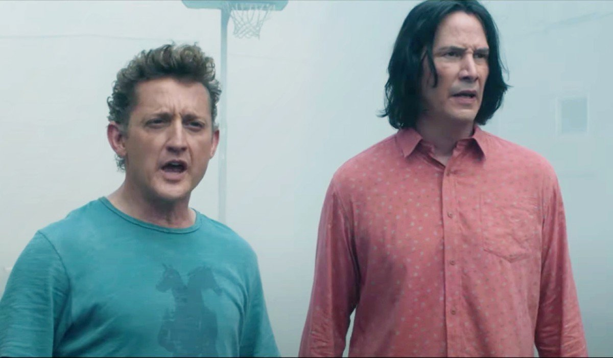 Bill & Ted Face The Music Alex Winter and Keanu Reeves standing in the prison yard, worried
