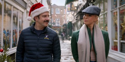 Jason Sudeikis and Hannah Waddingham in Ted Lasso
