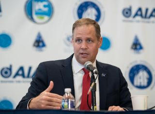 NASA Administrator Jim Bridenstine speaks at the Heads of Agency press conference at the 70th International Astronautical Congress in Washington, on Oct. 21, 2019.