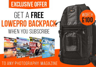 Free Lowepro backpack worth £100 with any photo mag subscription