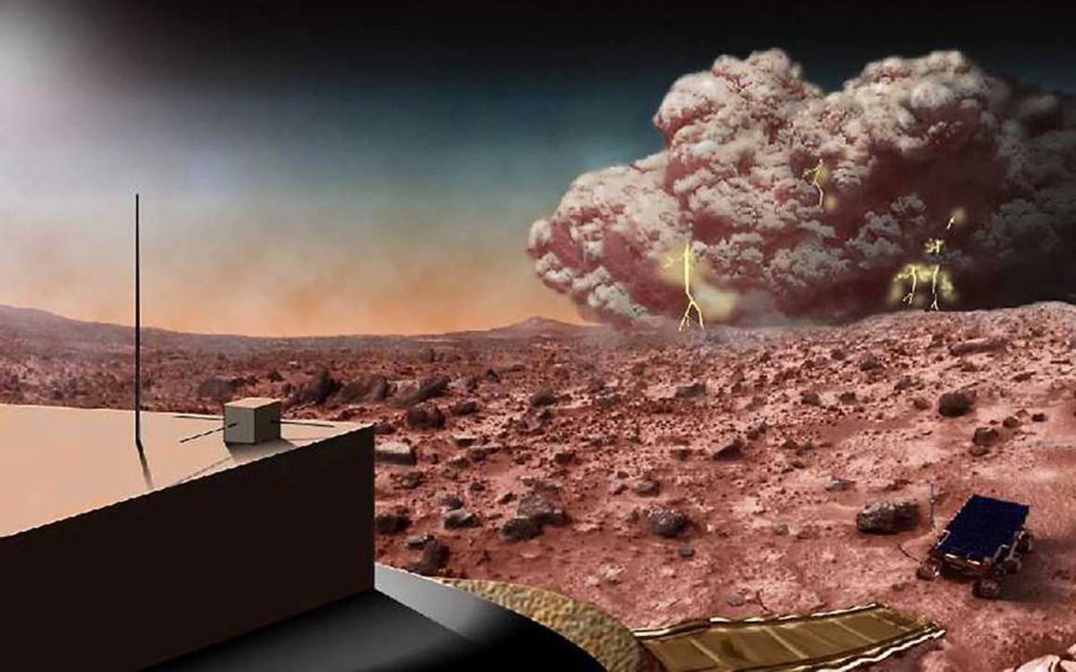 Martian mud storms might spark electrical purple glow