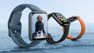 Three large Oppo Watch 2s floating above waves on a beach