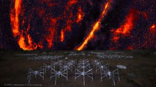 This composite image shows the red, radio-wave signature of the night sky soaring over the Murchison Widefield Array — a cutting-edge radio telescope in the Australian outback.