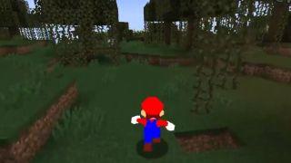 Mario's Super Mario 64 model running along grassy blocks in Minecraft.