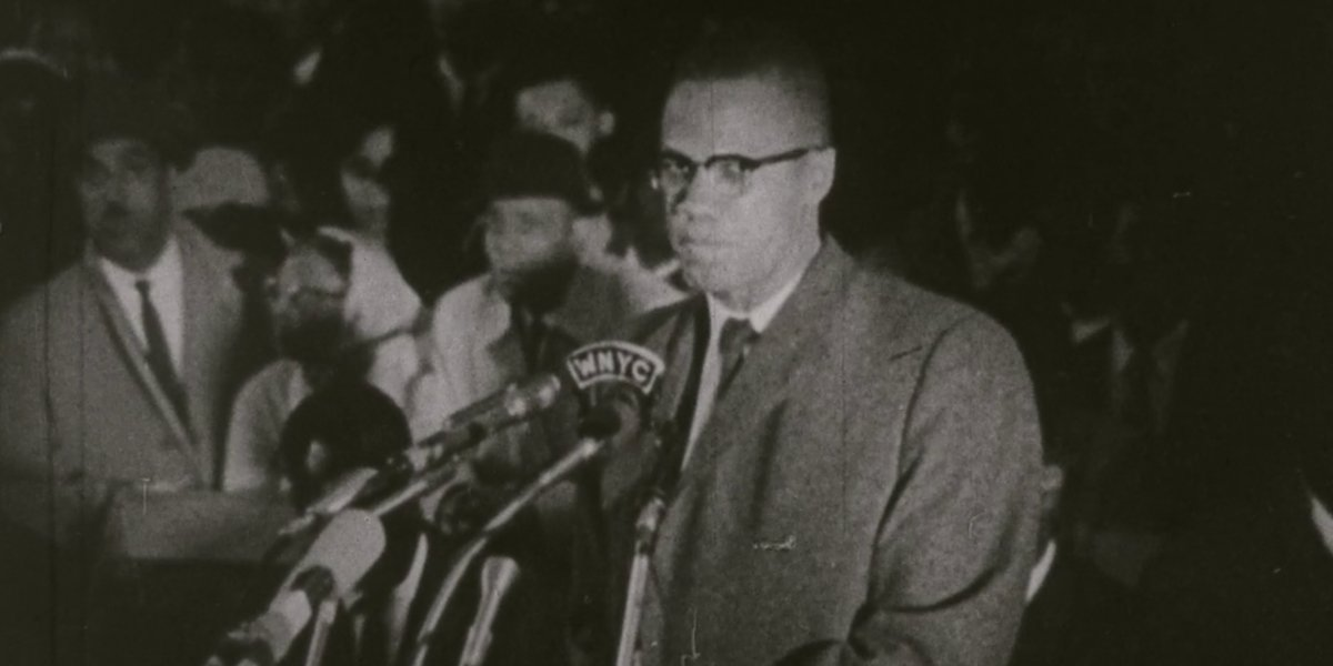 Archival footage of Malcolm X speaking in Blood Brothers: Malcolm X and Muhammad Ali