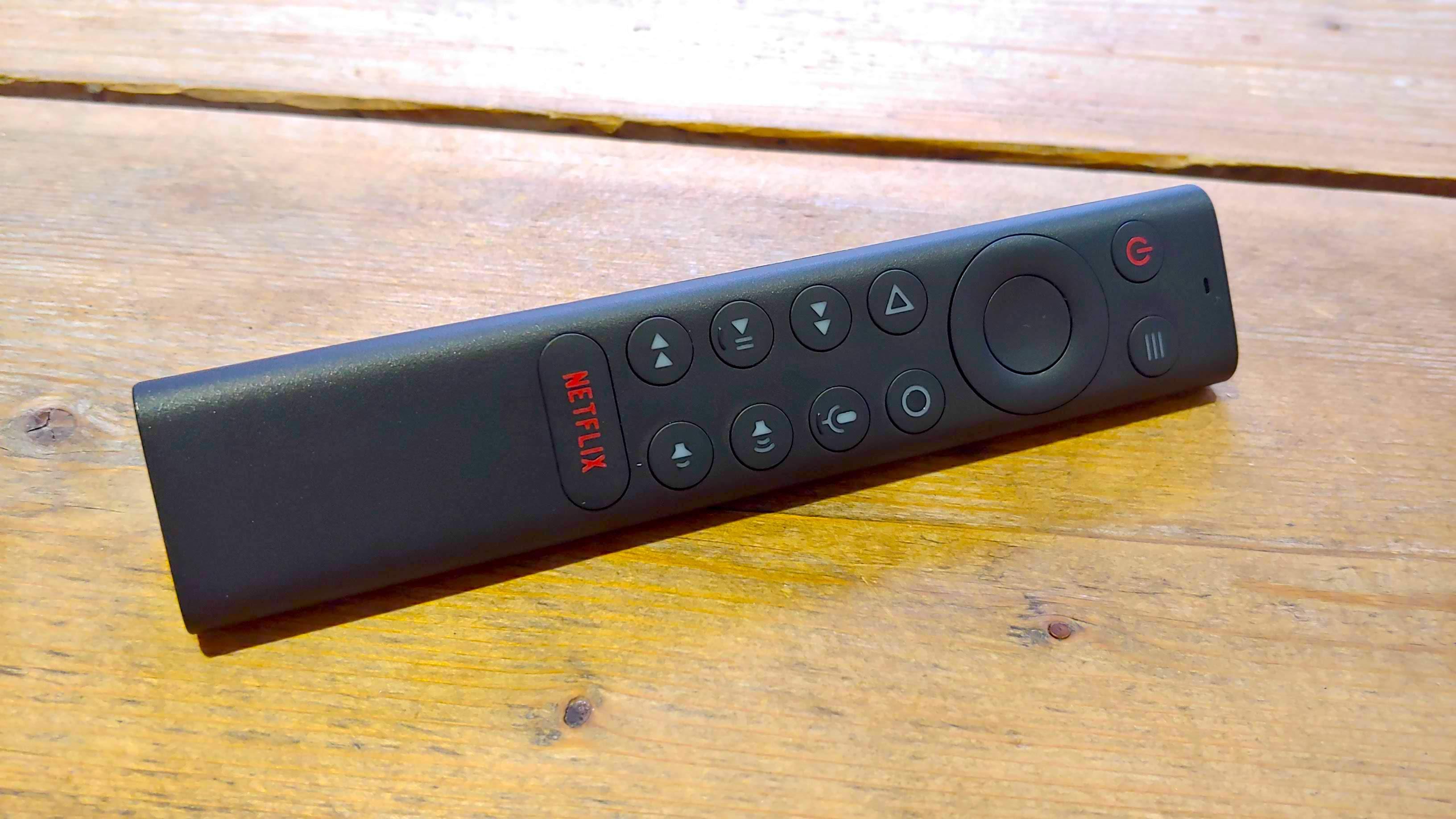 A close-up of the Nvidia Shield TV Pro remote control