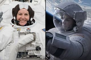 "Astronaut Cady Coleman (at left) advised actress Sandra Bullock how to be an astronaut for the film ""Gravity."""