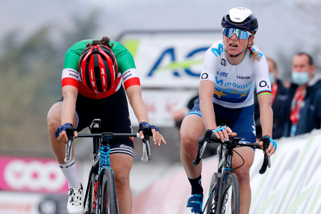 Elisa longo Borghini won the sprint for third at Fleche Wallonne Feminine