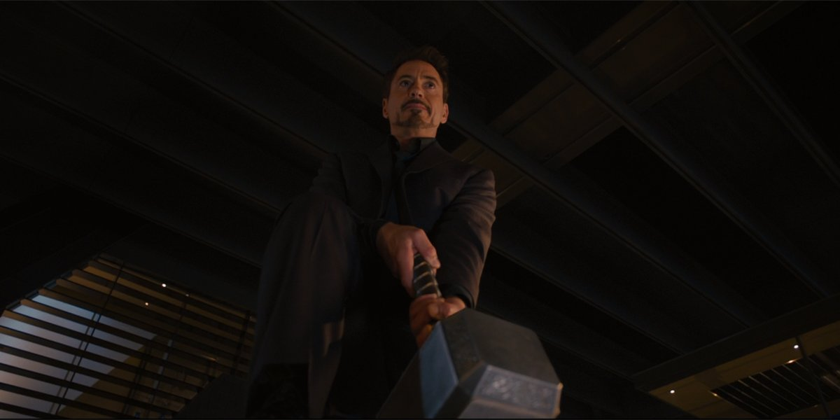 Tony Stark tries to lift Mjolnir avengers age of ultron