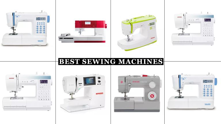 A grid collage of best sewing machines that w&h tested, with models from Pfaff, Bernina and Singer included