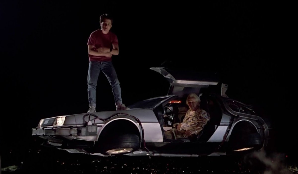 Back to the Future Part II Marty and Doc flying in the DeLorean