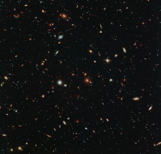 Galaxies as far as the eye can see, at least from Hubble's perspective.