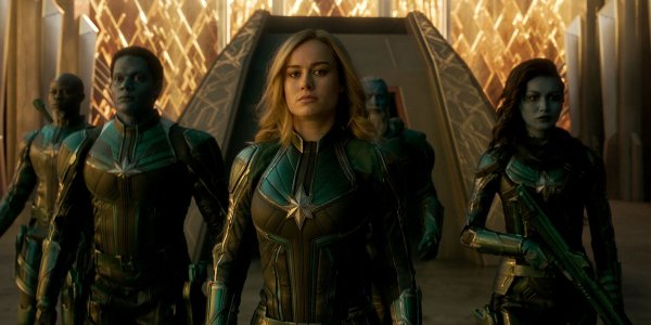 Captain Marvel leads the rest of her Star Force members into battle