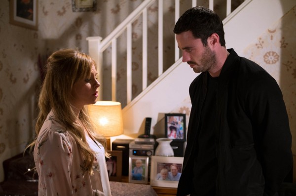 Sarah with Callum in Corrie