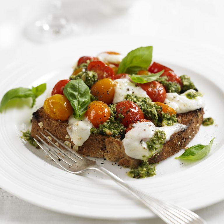 Roast Tomato & Mozzarella Sandwich with basil and pesto recipe-recipes-recipe ideas-woman and home