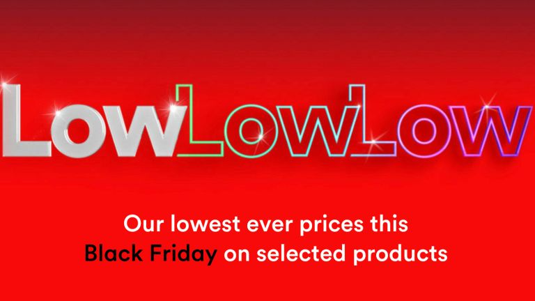 Virgin Media Black Friday banner: low low low prices sign on red backgrounf