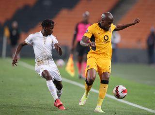 Sfiso Hlanti challenged by Kabelo Mahlasela