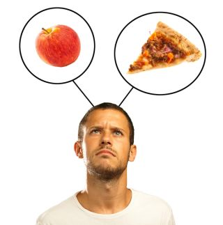 food decision, high-fat food, healthy food, apple, pizza