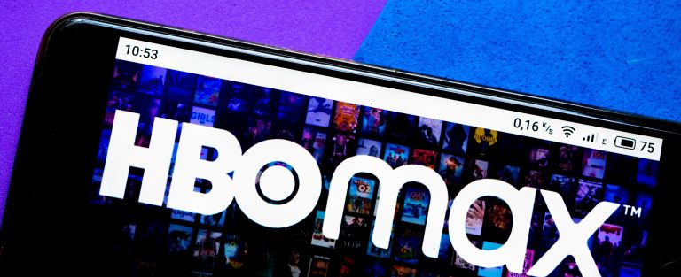 An HBO Max logo seen displayed on a smartphone, how to get HBO Max