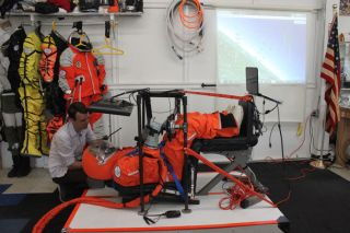 Simulator testing of the latest space suit crafted by Final Frontier Design.