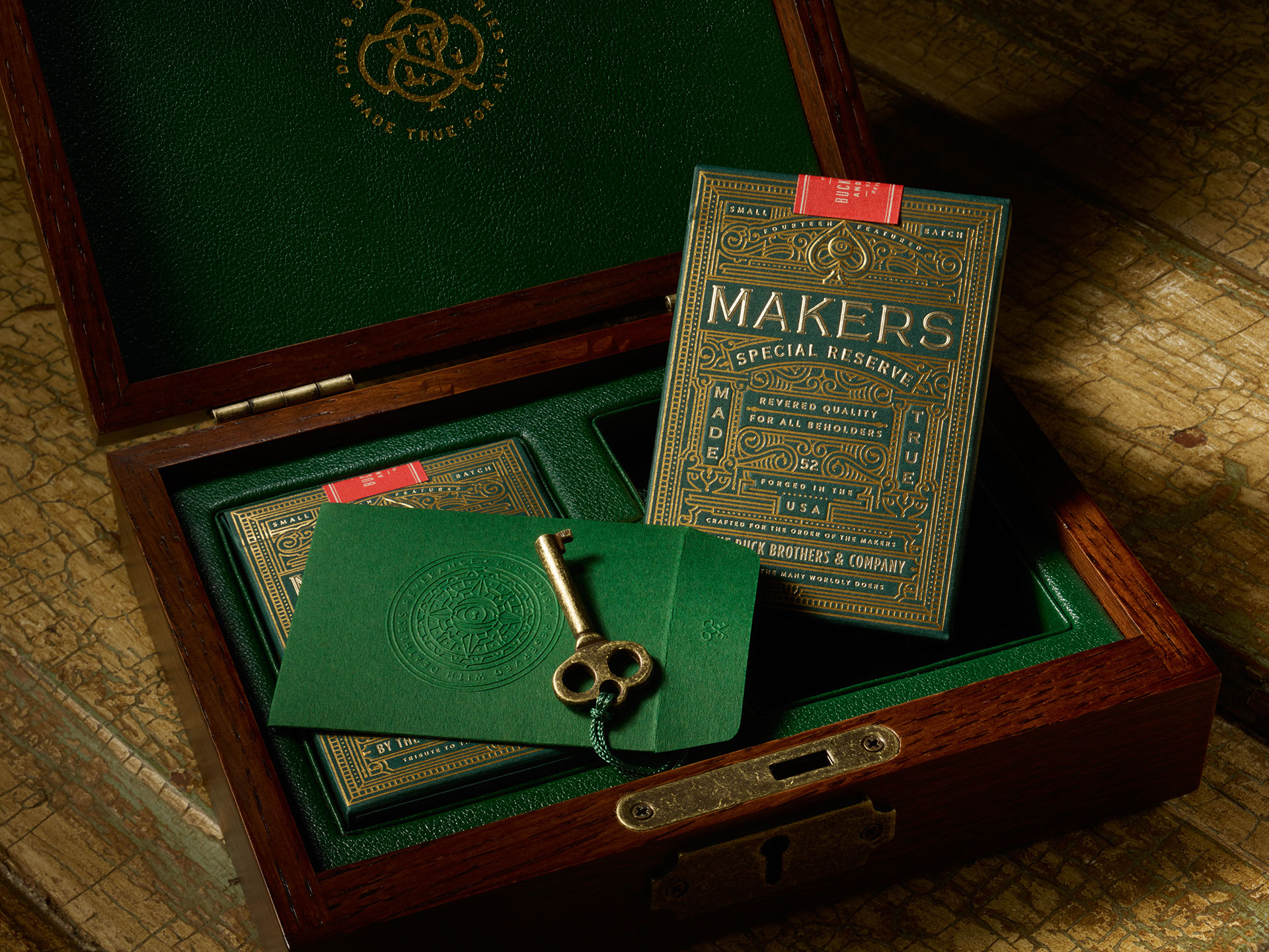 Makers Playing Cards in a wooden box with a key