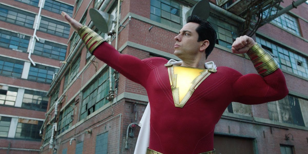 Zachary Levi as Shazam! in superhero suit