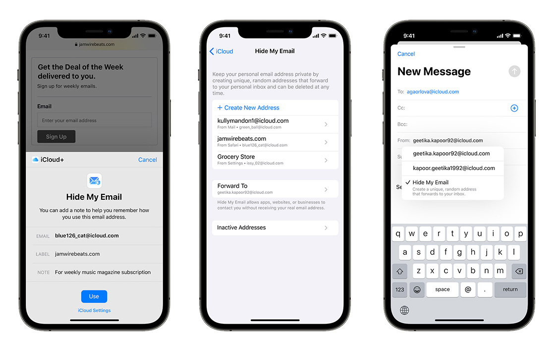 iCloud+ feature - hiding your email from others