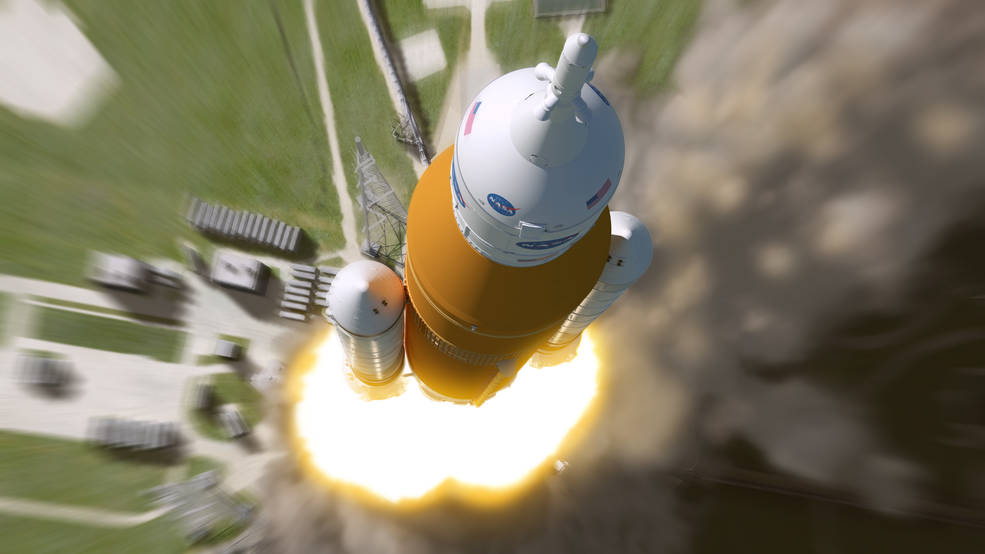 Artist's impression of NASA's Space Launch System taking off