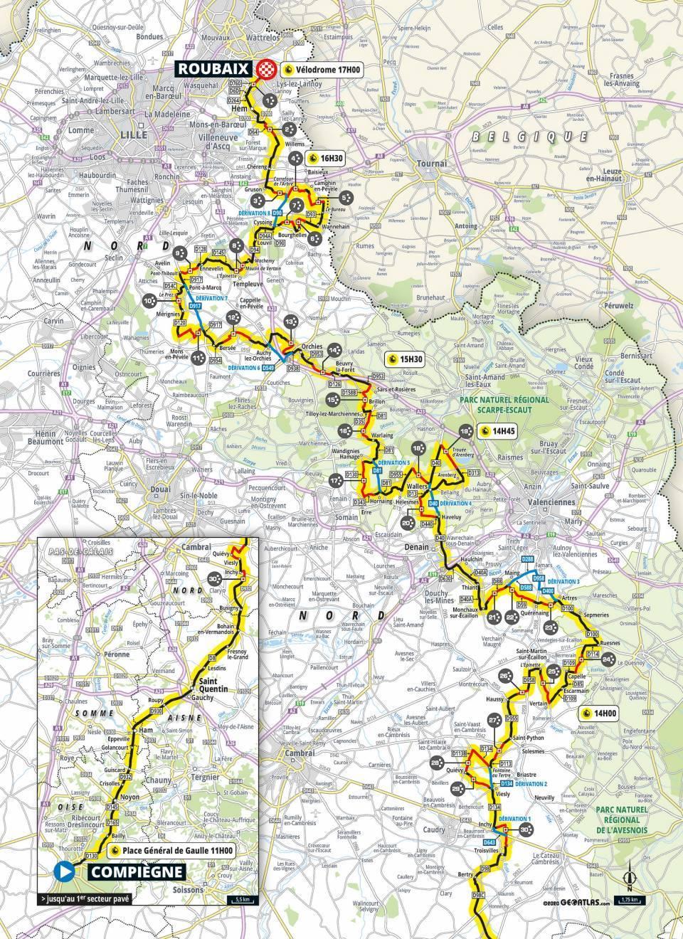 Map of 2021 Paris-Roubaix