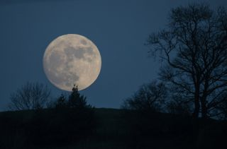 The full moon of January 11, 2017 rises over Glastonbury Tor in Somerset, England during a so-called Wolf Moon. At 2:08 a.m. EDT on April 11, the Full Pink Moon will light up the night sky.