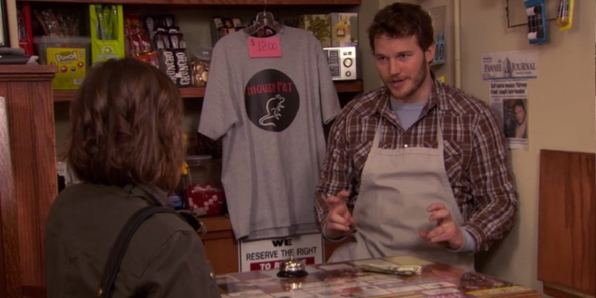 Chris Pratt as Andy Dwyer in Parks and Recreation.
