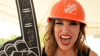 Halestorm's Lzzy Hale backstage of 'ESPN GameDay' opening taping at The Woods Amphitheater at Fontanelon May 7, 2014 in Nashville, Tennessee