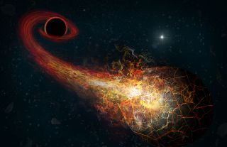 Artist's conception of accretion flares resulting from the encounter of an Oort-cloud comet and a hypothesized black hole in the outer solar system.