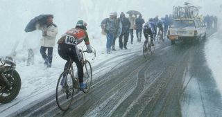 The snowstorm on the climb of Passo Gavia during 1988 Giro d'Italia