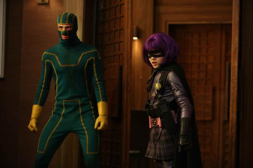 Kick-Ass - Aaron Johnson's wannabe superhero Dave Lizewski hooks up with Hit-Girl (Chloë Moretz) in the comic-book movie