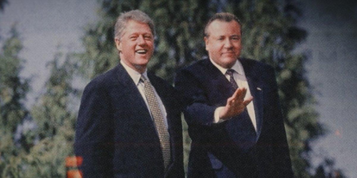 Bill Clinton and Ray Winstone as Dreykov in Black Widow