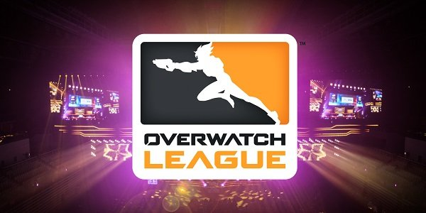 The Overwatch League logo and arena.