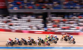 Cyclists compete in the womens track cycling omnium scratch race during the Tokyo 2020 Olympic Games at Izu Velodrome in Izu Japan on August 8 2021 Photo by Odd ANDERSEN AFP Photo by ODD ANDERSENAFP via Getty Images